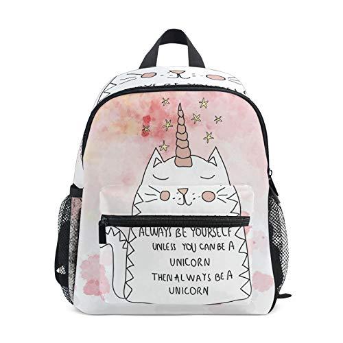 Mochila para niños y niñas Mini Mochila Bolsa de Viaje con Clip en el Pecho Animal Cat Unicorn