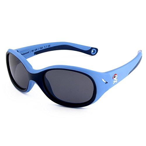 ActiveSol KINDER-Sonnenbrille | JUNGEN | 100% UV 400 Schutz | polarisiert | unzerstörbar aus flexiblem Gummi | 2-6 Jahre | 22 Gramm [Pirat]