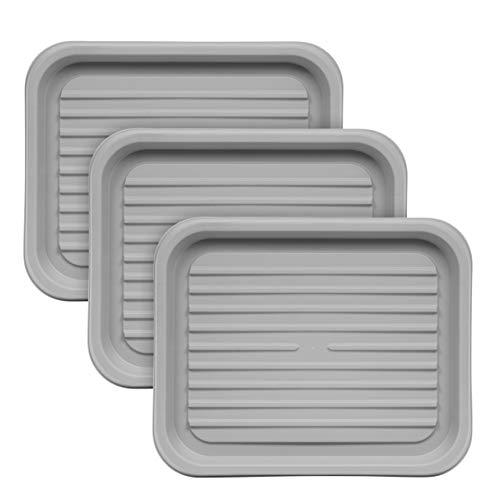 IRIS USA Small Shoe Tray, 3 Pack, Gray
