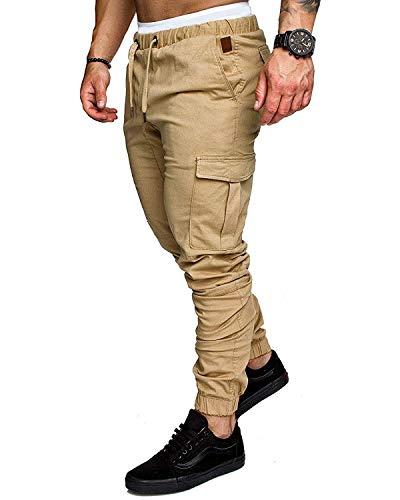 Onsoyours Homme Ceinture élastique à Long Coton Jogging Pantalons de survêtement Plus la Taille Mode Sport Cargo Pantalons Shorts avec Poches Joggers Activewear Pantalons Z1 Kaki Medium