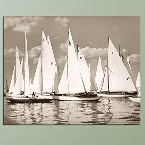 Digitale druk olieverfschilderij canvas afbeelding op zeellandschap zeil linnen schilderij wand wooncultuur decoratie geschenk frameloos