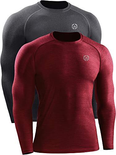 Neleus Dry Fit Athletic Performance Camisa para hombre - Rojo - Medium