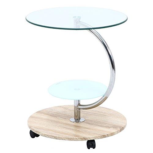 不二貿易 テーブル 直径50cm ナチュラル ラウンド 強化ガラス キャスター付き marble 96229