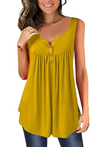 MODARANI Henley V Neck Tank Tops for Women Pleated Ruffle Shirts Solid Color Sleeveless Shirts Flowy Mustard XL
