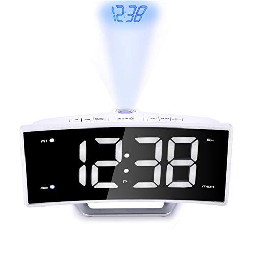 WMC Projektor FM Radiowecker, LED-Digital-Elektronischer Spiegel Tabelle Projektor-Uhr Schreibtisch Nixie-Projektions-Wecker Mit Zeit-Projektion,Weiß