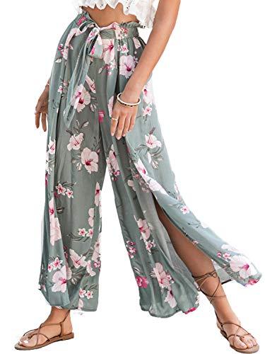 Simplee Women's Elegant Striped Split High Waisted Belted Flowy Wide Leg Pants (4-6, Green Floral)