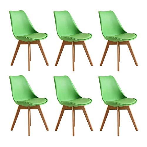 RJJBYY Juego de 6 sillas de comedor de plástico Tulipán con patas de madera de haya maciza, diseño acolchado sin brazos, cómodo asiento acolchado de poliuretano