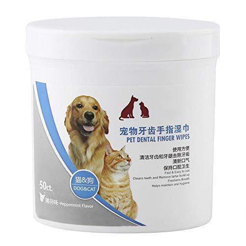 Hffheer 50 Stks Tanddoekjes voor Honden en Katten Huisdier Dental Finger Wipes Huisdieren Oraal Cleaner Care Hond Natte Tissue Stain Remover Reinigingspapier Handdoeken voor het reinigen van tanden Oren