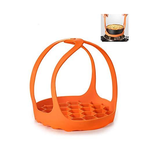 Jsdoin 2 Pack Pressure Cooker Sling Set, Silicone Steamer Basket Lifter with Handles Anti-scalding Bakeware Lifter Steamer Rack for Instant Pot 6/8 Qt &3 Qt Pressure Cooker-Orange