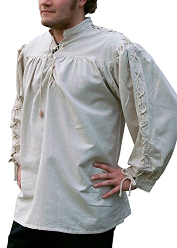 Moyen-chemise-manches lacé naturel en coton/lin pour moyen et à utiliser de déguisement pirate, viking Taille XXXL