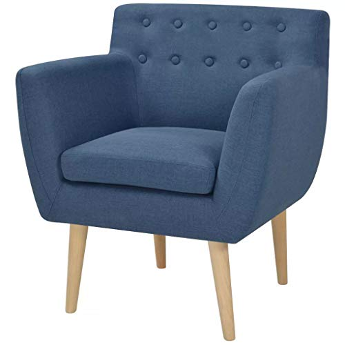 Vislone Sillón Butaca de Diseño Conciso y Moderno Tela Azul 67x59x77cm