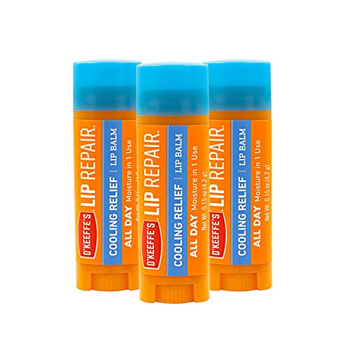 O'Keeffe's Cooling Relief Lip Repair Lip Balm for Dry, Cracked Lips, Stick, (Pack of 3), Model:K0710116