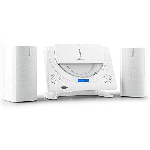 OneConcept Vertical 80 - Stereoanlage, Kompaktanlage, Microanlage, Vertikalanlage, MP3-fähiger USB-Port und CD-Player, AUX, UKW Radio, weiß