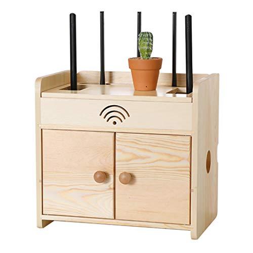 Caja de Almacenamiento enrutador Socket Wire Clasificación Caja de clasificación Set-Top Box Rack TV Muro Colgante Gabinete de Almacenamiento (Color : Wood, Size : 32 * 21.5 * 22.5cm)