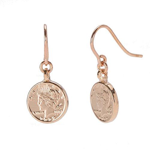 Tom Shot Damen Ohrringe Münze - Ohrhänger kleiner Münz-Anhänger beidseitg geprägt Rosa vergoldet - 79or3214r
