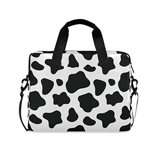 Cuteprint Laptop Case Bag Animal Cow Print Laptop Sleeves Briefcase Messenger Bag with Strap for Woman Man Business Office School,14 15.6 Inch