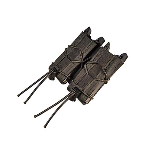 High Speed Gear Double Pistol Taco Mag Pouch | Universal Pistol Magazine Holster | Rapid Response and MOLLE Compatible (Black, Two Pack)