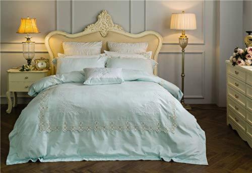 YIEBAI Juego de ropa de cama con bordado floral oriental, funda de edredón y funda de edredón para adultos y hogar, ropa de cama, 1, tamaño Queen 4 piezas