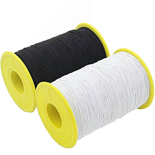 TIHOOD 2PCS 0.5mm Thickness 547 Yard Elastic Thread White and Black
