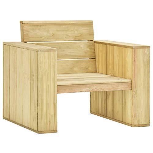 vidaXL Kiefernholz Imprägniert Gartenstuhl mit Armlehnen Vintage-inspiriert Holzstuhl Gartensessel Stuhl Sessel Gartenmöbel 89x76x76cm