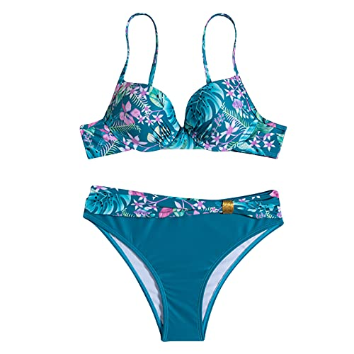 Nuevo 2021 Mujer Bikini Sexy Trajes de Baño Mujer dos piezas Ropa de Playa Cintura alta Conjunto de Bikinis Impresión Push up Bikini spa Tankinis mujer Bañador Tres puntos Beachwear Vacaciones