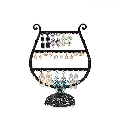 Soporte de metal para exhibición de pendientes, soporte para joyas, collares, aretes, aretes, etc. (color: 1 negro)