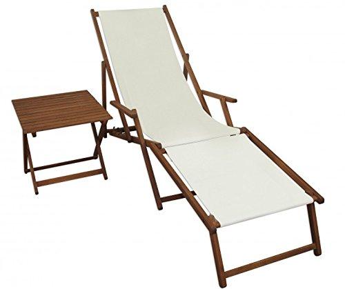 Erst-Holz Sonnenliege weiß Liegestuhl Fußteil Tisch Gartenliege Deckchair Strandstuhl Gartenmöbel 10-303FT