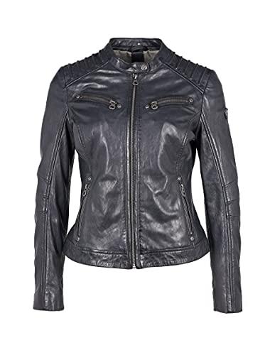 Gipsy Damen Biker Lederjacke Übergangsjacke mit gesteppten Schultern - GGSalla NZLV (Schwarz, M)