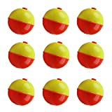 JSHANMEI Fishing Bobbers Set Snap-on Orange and Yellow Float Bobbers Push Button Round Buoy Floats Fishing Tackle Accessories (1inch-10pcs)