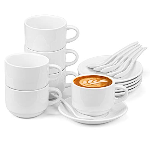 Hedume 6 Pack 5 OZ Espresso Cups with Saucers and Spoons, Stackable Espresso Coffee Cup Set for Specialty Coffee Drinks, Latte, Cafe Mocha and Tea