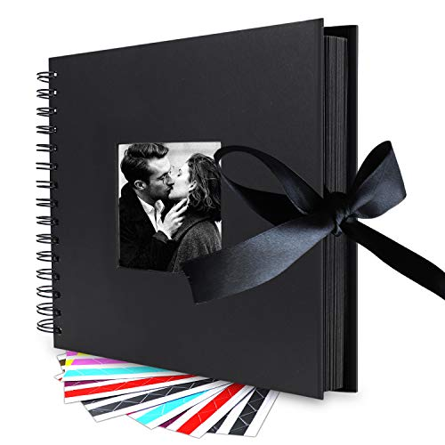 Scrapbook Album, 10 Inches, 80 DIY Black Papes LUNIQI Photo Collection with Phonto Opening and Gift Bow Knot, for Wedding, Valentines,Graduated, Party Day, Love Moment Recorder with 6 Corner Stickers