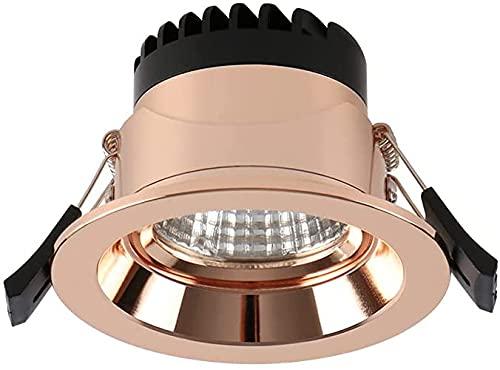 PJDOOJAE 7 W 92 mm panel redondo luces resalte ángulo ajustable Iluminación de techo LED empotrable Focos Downlight lámpara para escalera cocina baño oficina oro rosa