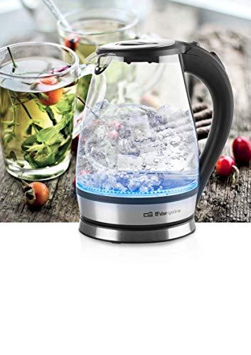 Orbegozo Hervidor de Agua Cristal KT 6035. Capacidad 1,7 L. Jarra en Vidrio de borosilicato graduada