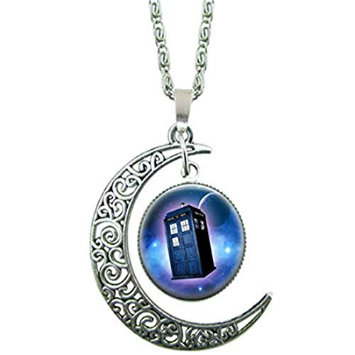 yichahu Doctor Who Telephone Booth Pendant Glass Cabochon Necklace Choker Necklace Woodland Jewelry Christmas (3)