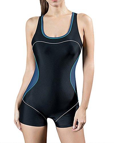 Bañador Pieza Mujer - Traje de Baño - Competición - con Pantalones Cortos EU 50 Gris...