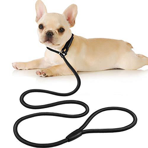 Cuerda de Correa Ajustable de Nylon de Plomo de Perro Correa de Entrenamiento de Mascotas Cuerda de Collar de antideslizantepara Caminar Entrenamiento Mascotas 1,5 m (Negro)