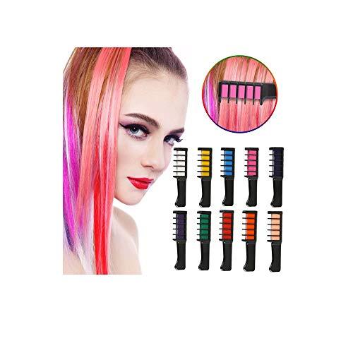 LATTCURE Haarkreide 10 Farben, Haarfarbe Kreide Stifte, Kinder Haarfärbemittel, Temporär Haarkreide instant Einmalige Haarekreide, waschbar und ungiftig
