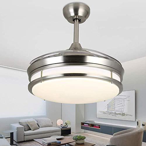 JUULLN Luces de Ventilador de Techo de 42 Pulgadas Lámparas retráctiles Araña LED Techo Regulables con Control Remoto para Sala de Estar/Dormitorio (Voltage : 220V)