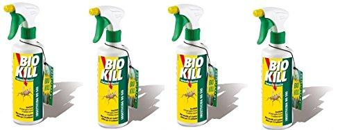 Bio Kill - Insecticida en spray, 4paquetes de 500ml. Eficaz contra todos los insectos