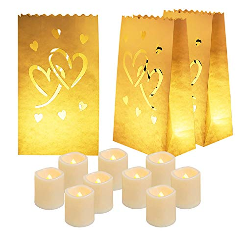 Homemory 50 PCS White Luminary Bags with Hearts & 12PCS Flickering Flameless Votive Candles