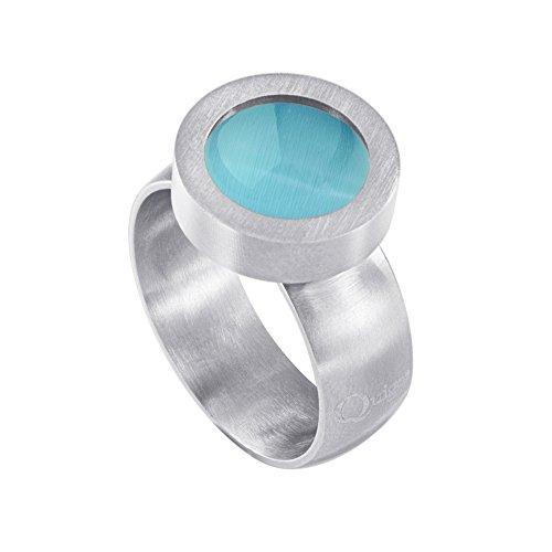 Quiges Matt Silber Edelstahl Ring 12mm Mini Coin Halter Wechselring und Austauschbar Blaues Katzenauge Stein in Größe 17mm