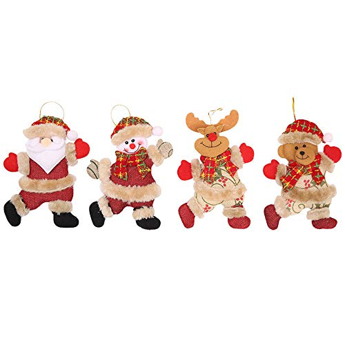 bobo4818 DIY Filz Weihnachtsbaum 4 Stück Weihnachten Verzierungen Geschenk Santa Claus Schneemann Baum Spielzeug Puppe Hängen Dekorationen für Kinder Weihnachten Geschenk