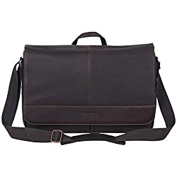 in budget affordable Kenneth Cole Reaction Cam Bag Immediately – Colombian Leather Laptop and iPad Shoulder Bag, Brown
