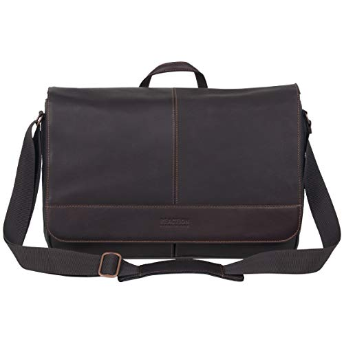 """Modern Mobility, Thoughtful Design: The """"Come Bag Soon"""" Men's leather anti-theft RFID laptop messenger bag from the Kenneth Cole Manhattan collection is designed with innovative features and high-end materials so you can carry your office essentials ..."""