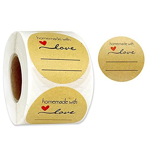 500 pegatinas de papel de estraza, 5 cm, autoadhesivas, redondas, para vasos, mermeladas, bolsas de regalo, sobres, bodas, Acción de Gracias