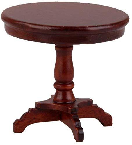 hsj 12.01 Puppenhaus Miniatur-Möbel Holz Victorian runder Beistelltisch for Puppenhaus-Dekor - 2,13 x 2,13 x 2,01 Zoll Exquisite Verarbeitung