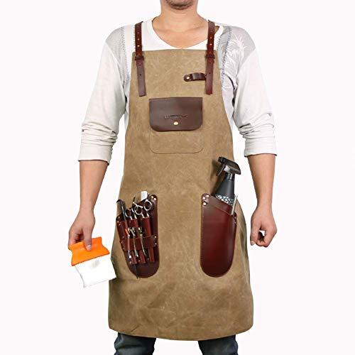 ZCCGRASS werkschort van linnen met tas voor gereedschap en pak van lederen riemen voor keuken, tuin, keramiek, handwerk, garage