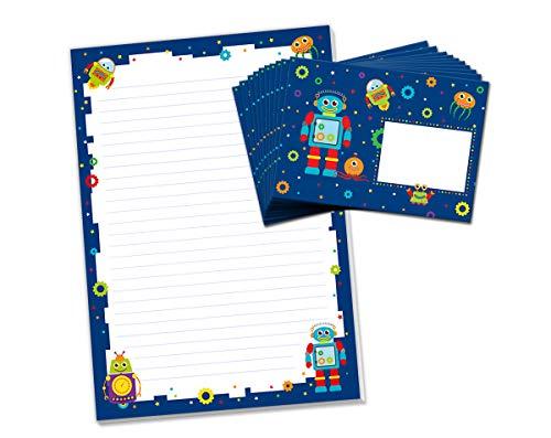 Bloc de cartas con sobre robot para niños, juego de papel de carta (bloque A4 con 25 hojas + 15 sobres)