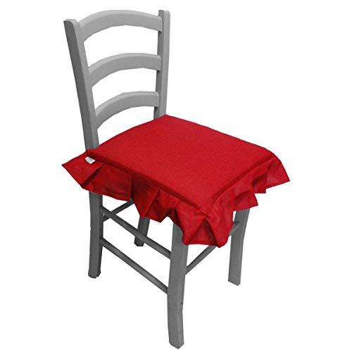Russo Tessuti 6 Cuscini Sedie Cucina Coprisedia Imbottiti Tinta Unica ALLEGRIA Laccetti Volant-Rosso