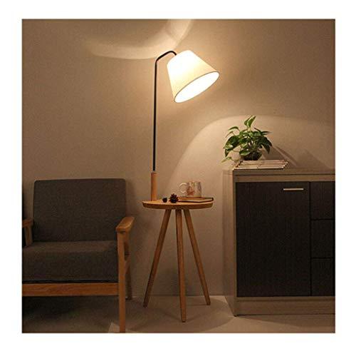 Vloerlamp - moderne woonkamer slaapkamer verticale vloerlamp, zwarte buis hout kleur -7W drie kleuren lamp